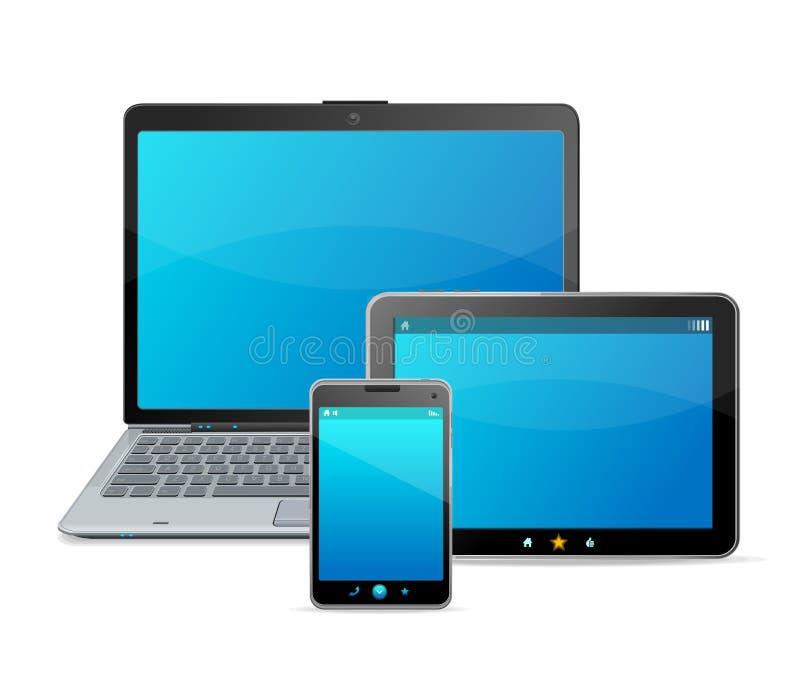 Sistema del vector de dispositivos móviles modernos en blanco ilustración del vector