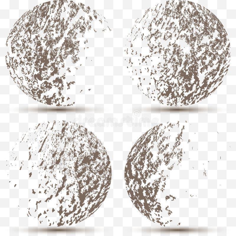 Sistema del vector de diversas esferas rayadas del grunge 3d libre illustration