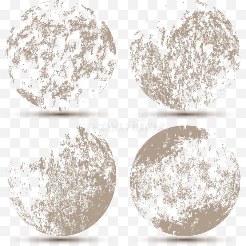 Sistema del vector de diversas esferas rayadas del grunge 3d ilustración del vector