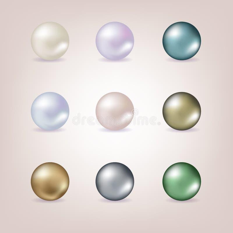 Sistema del vector de diversas perlas aisladas en fondo rosado libre illustration