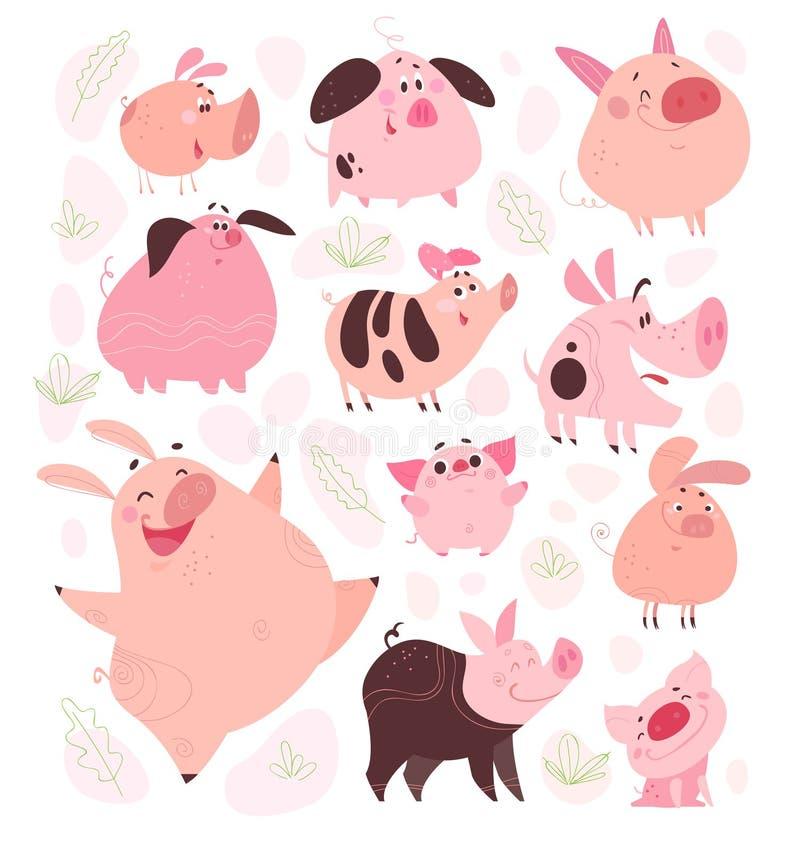 Sistema del vector de diverso diseño de caracteres plano divertido del cerdo aislado en el fondo blanco stock de ilustración