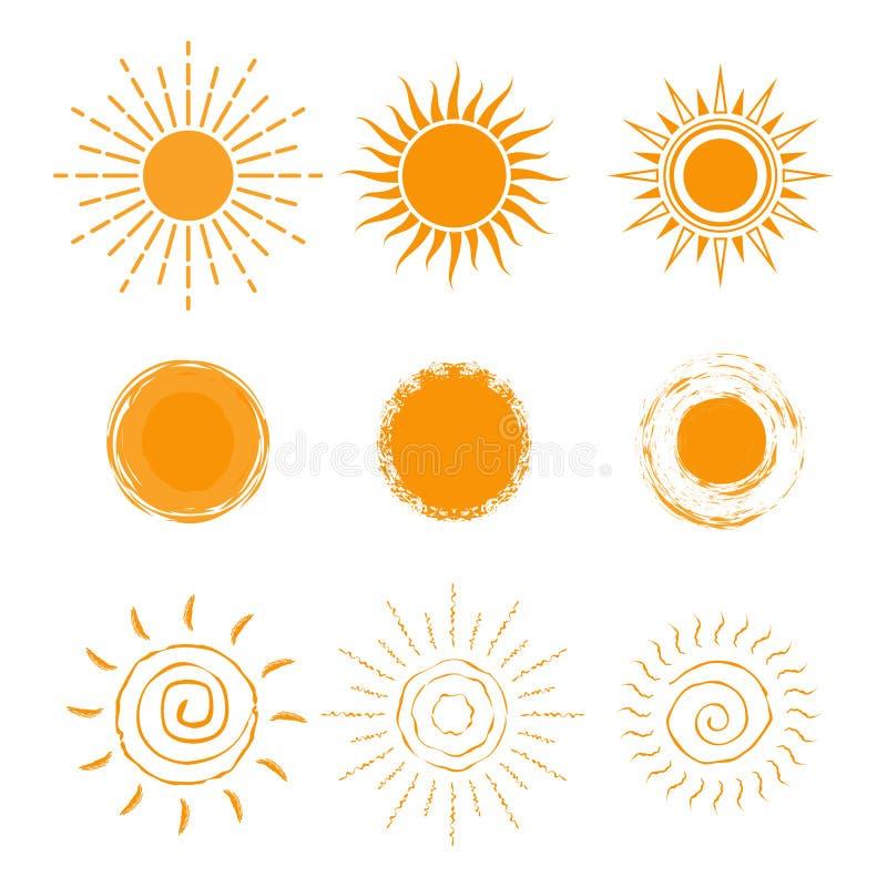 Sistema del vector de diverso icono del sol Nueva colección del icono del sol Aislado en el fondo blanco ilustración del vector