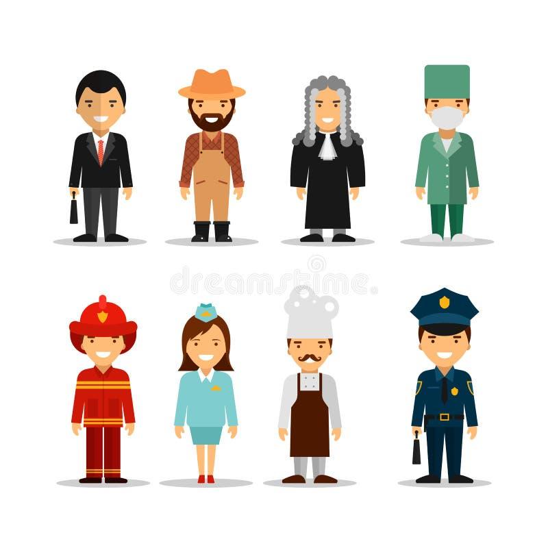 Sistema del vector de diversos caracteres de las profesiones de la gente Iconos, avatares y elementos del diseño en estilo plano ilustración del vector