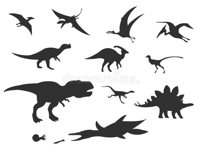 Sistema del vector de diversos dinosaurios lindos de la historieta stock de ilustración