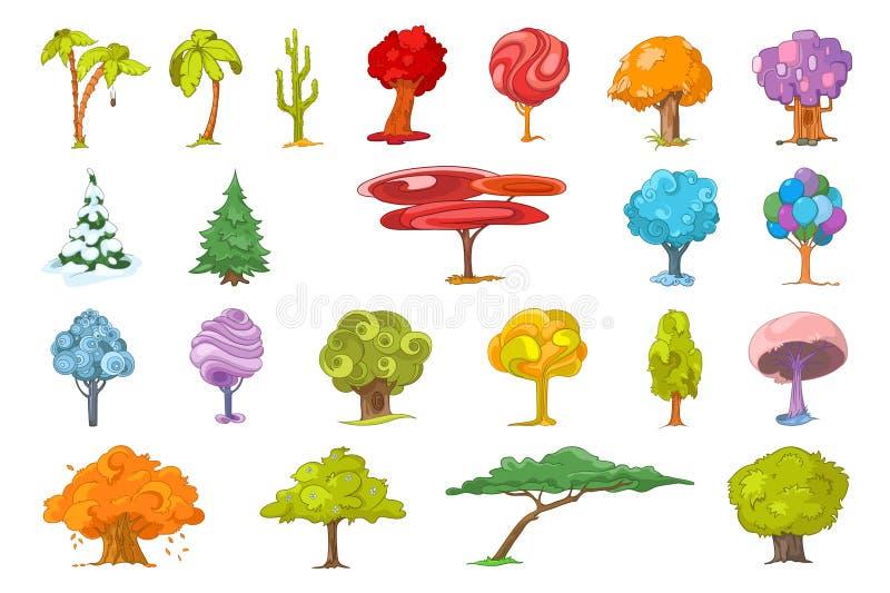 Sistema del vector de diversos ejemplos de los árboles libre illustration