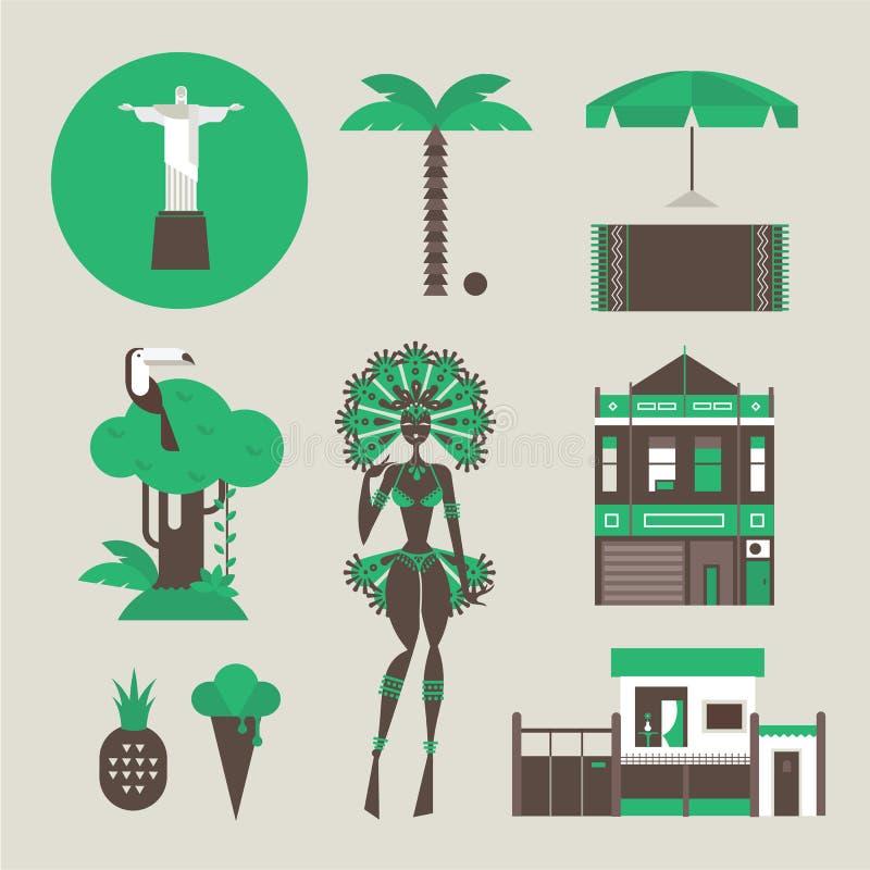 Iconos de Brazillian ilustración del vector