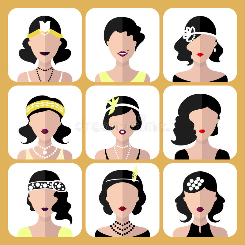 Sistema del vector de diversos iconos de las muchachas de la aleta en estilo plano moderno aislados en el fondo blanco stock de ilustración