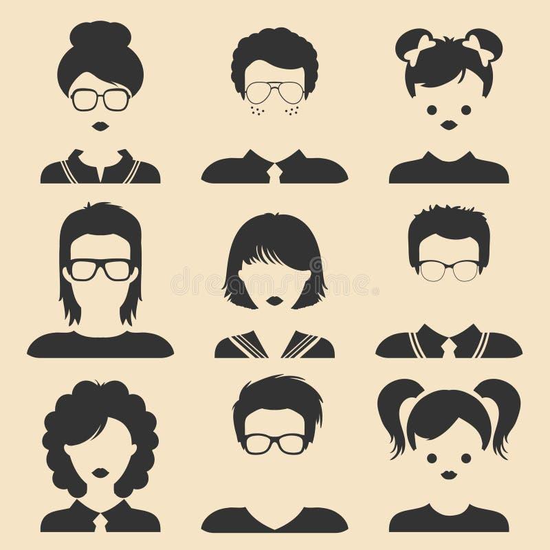 Sistema del vector de diversos iconos de los niños masculinos y femeninos en estilo plano de moda Caras adultas jovenes Colección ilustración del vector