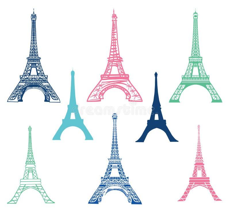Sistema del vector de diversos iconos de las señales de la torre Eiffel de París, Francia con las siluetas Señal y estructura ilustración del vector