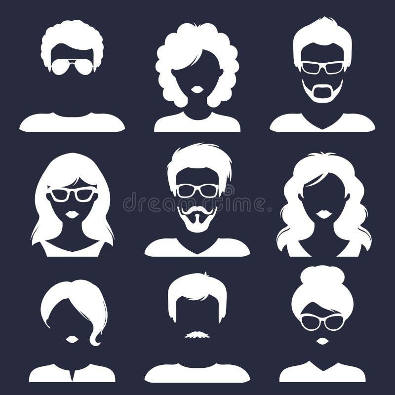 Sistema del vector de diversos iconos masculinos y femeninos en estilo plano de moda E ilustración del vector