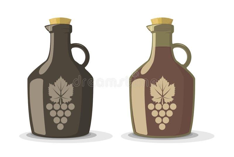 Sistema del vector de dos botellas de vino libre illustration