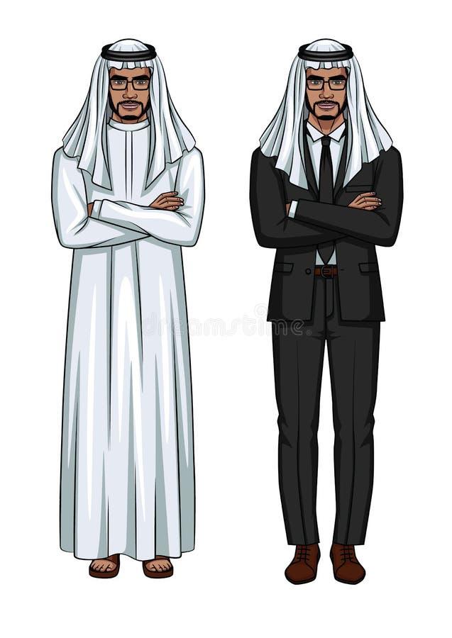 Sistema del vector de dos businessmens árabes modernos que se colocan con los brazos cruzados aislados del fondo blanco ilustración del vector