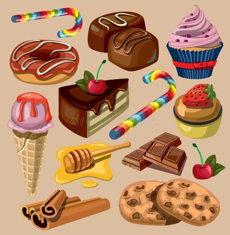 Sistema del vector de dulces libre illustration