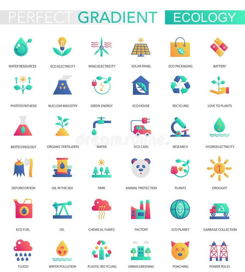 Sistema del vector de ecología plana de moda de la pendiente y de iconos verdes de la energía stock de ilustración