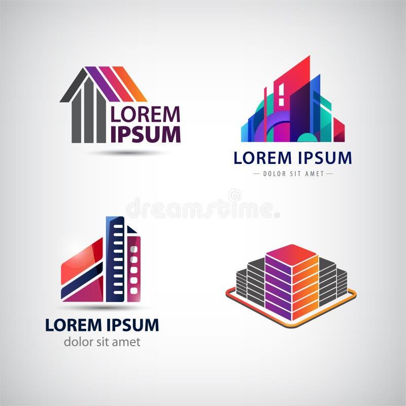 Sistema del vector de edificio, casas, ciudad, logotipos de la ciudad, iconos aislados libre illustration