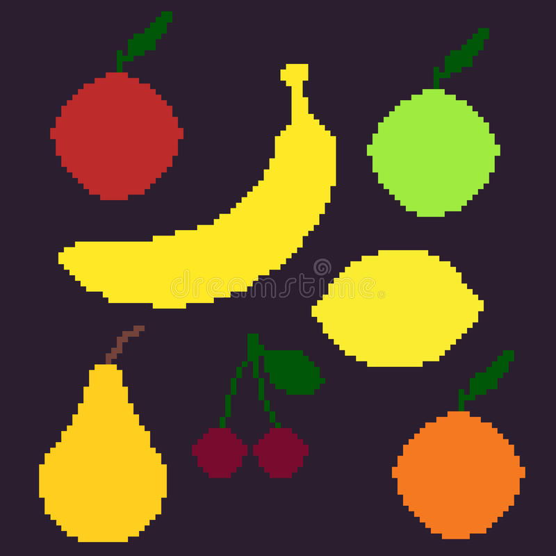 Sistema del vector de ejemplos de la fruta del pixel ilustración del vector