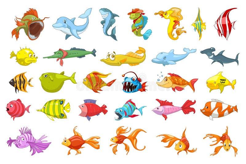 Sistema del vector de ejemplos de los pescados stock de ilustración