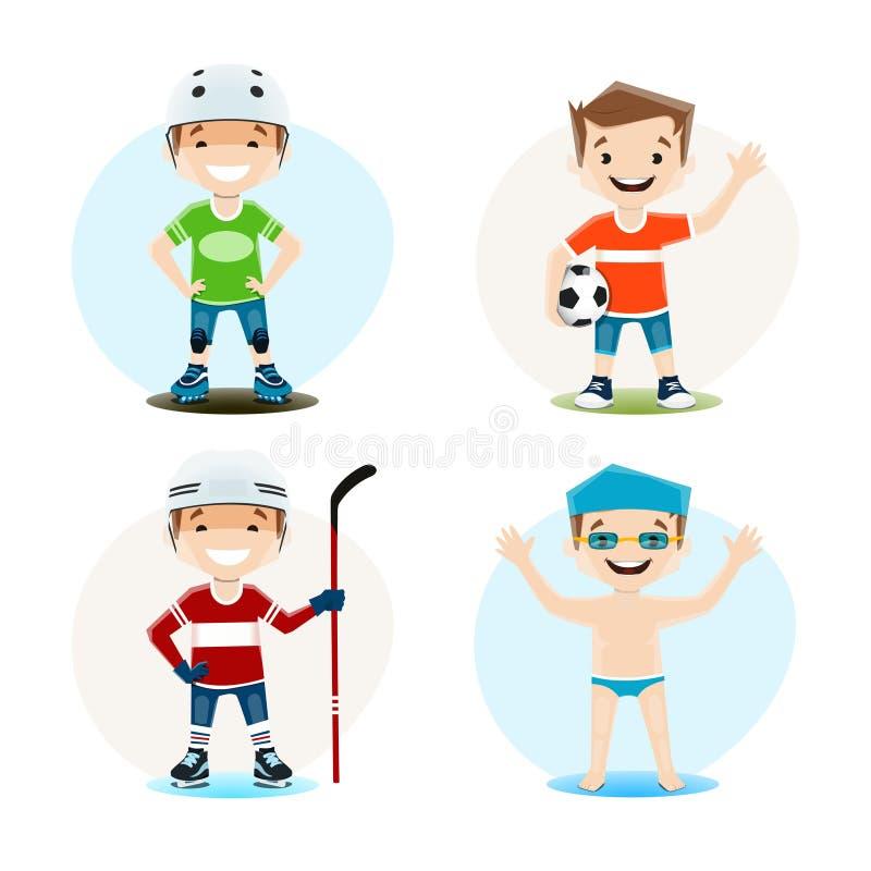 Sistema del vector de ejemplos de un muchacho implicado en la natación, el hockey, el fútbol y el patinaje sobre ruedas ilustración del vector