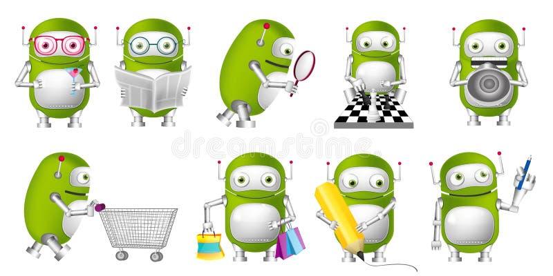 Sistema del vector de ejemplos verdes de los robots ilustración del vector