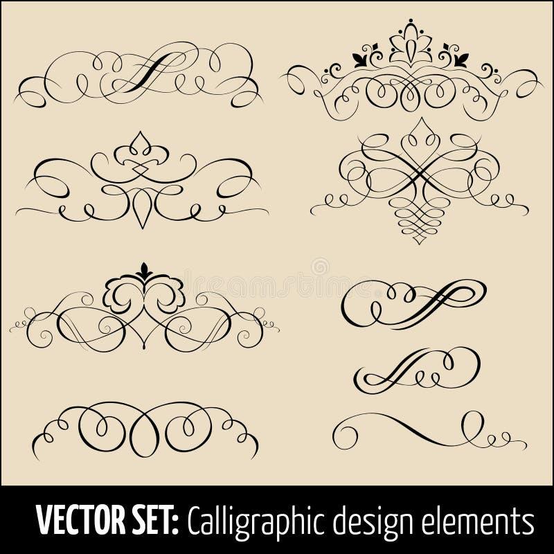 Sistema del vector de elementos caligráficos y de la página de la decoración del diseño Elementos elegantes para su diseño ilustración del vector