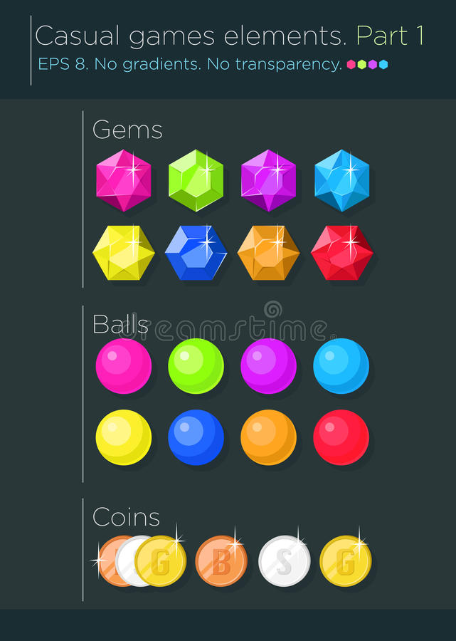 Sistema del vector de elementos casuales de los juegos ilustración del vector