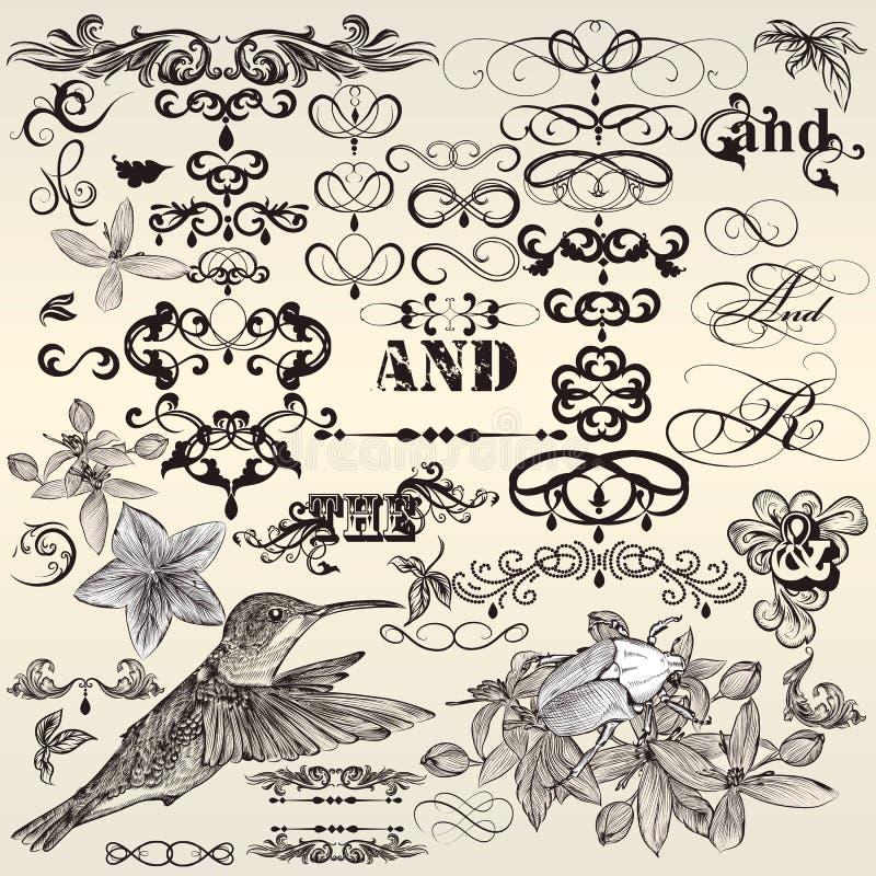 Sistema del vector de elementos del diseño del vintage y de deco caligráficos de la página stock de ilustración