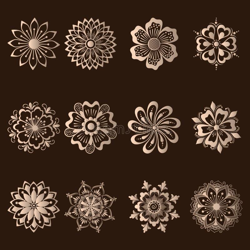 Sistema del vector de elementos del Ornamental del damasco libre illustration