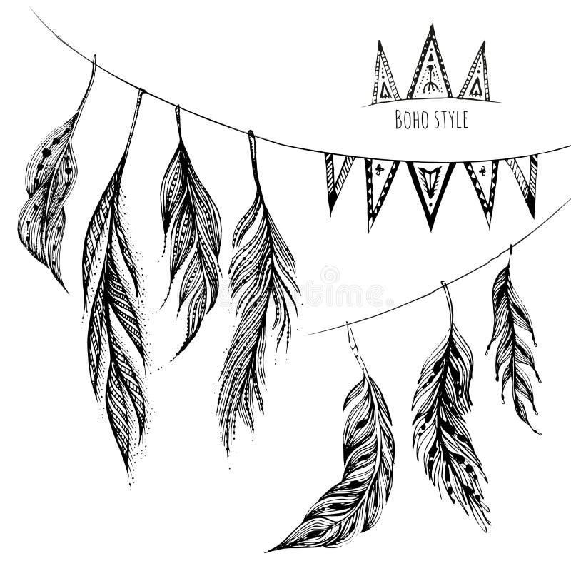 Sistema del vector de elementos dibujados mano del diseño web en el estilo de Boho libre illustration