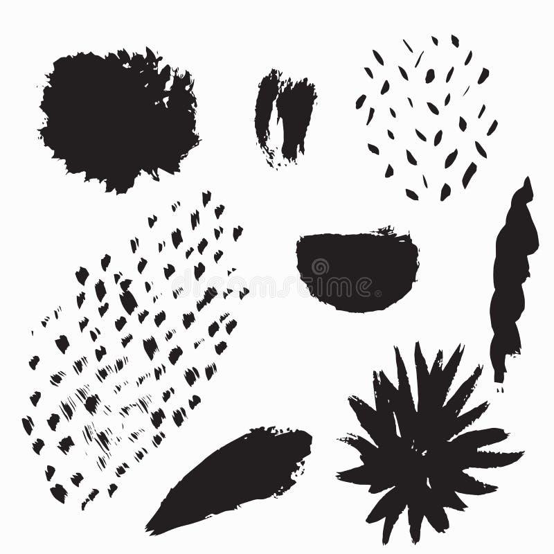 Sistema del vector de elementos exhaustos de la tinta de la mano Colecci?n de t?rminos para el dise?o art?stico creativo stock de ilustración