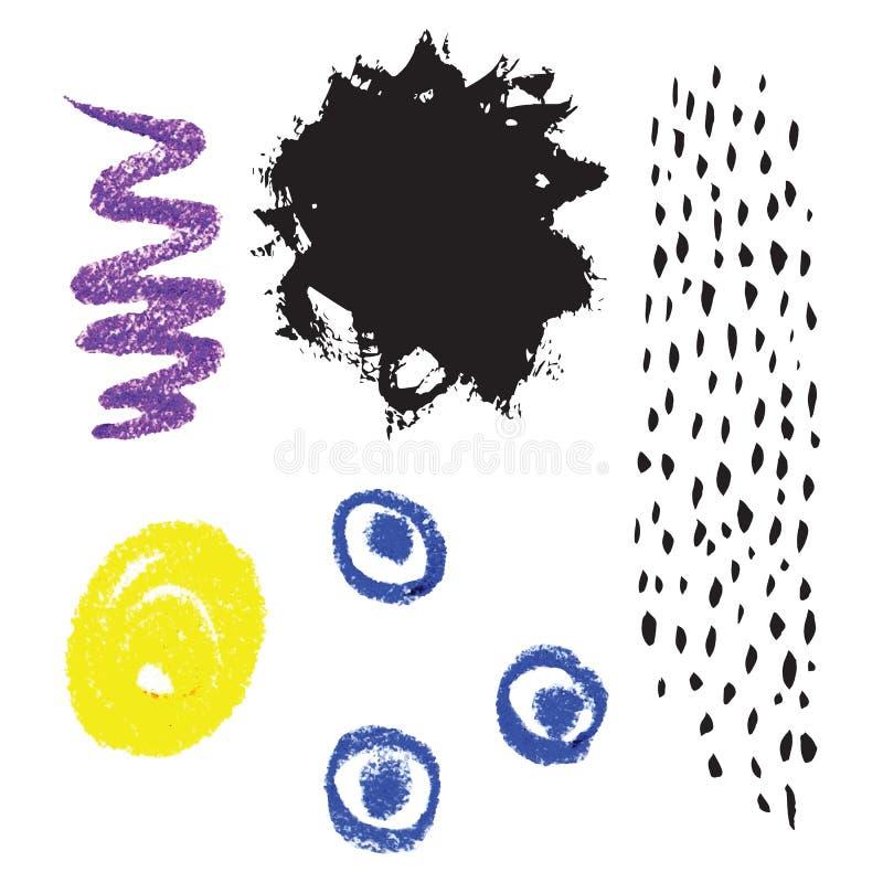 Sistema del vector de elementos exhaustos de los creyones de la tinta y de cera de la mano Colecci?n de t?rminos para el dise?o a stock de ilustración