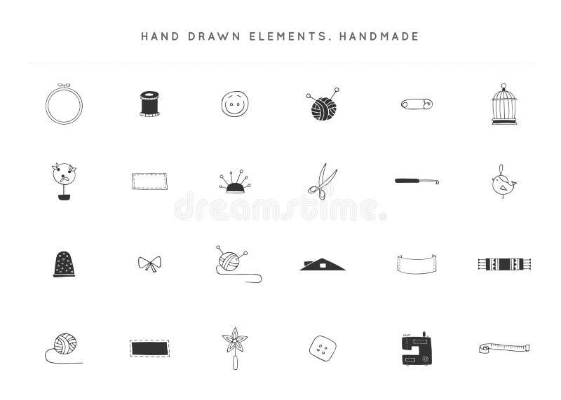 Sistema del vector de elementos hechos a mano del logotipo Objetos aislados dibujados mano ilustración del vector