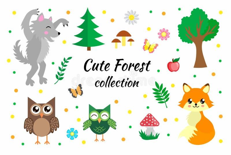 Sistema del vector de elementos lindos del bosque Animales zorro, lobo, búhos, mariposas, setas, flores y árboles del arbolado libre illustration