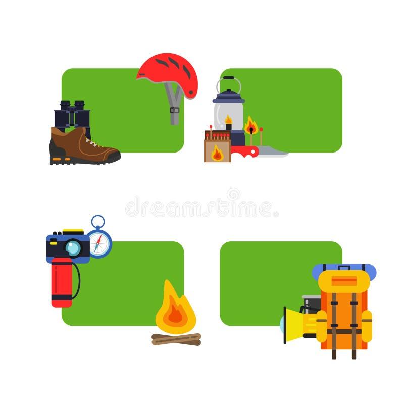 Sistema del vector de elementos que acampan de las etiquetas engomadas stock de ilustración