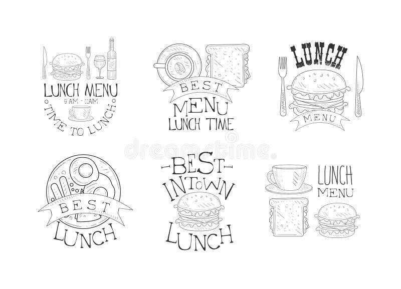 Sistema del vector de 6 emblemas dibujados mano del menú del almuerzo Logotipos monocromáticos con los alimentos de preparación r libre illustration