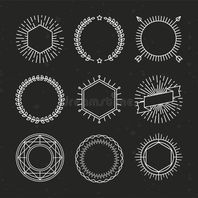Sistema del vector de emblemas y de insignias del esquema stock de ilustración