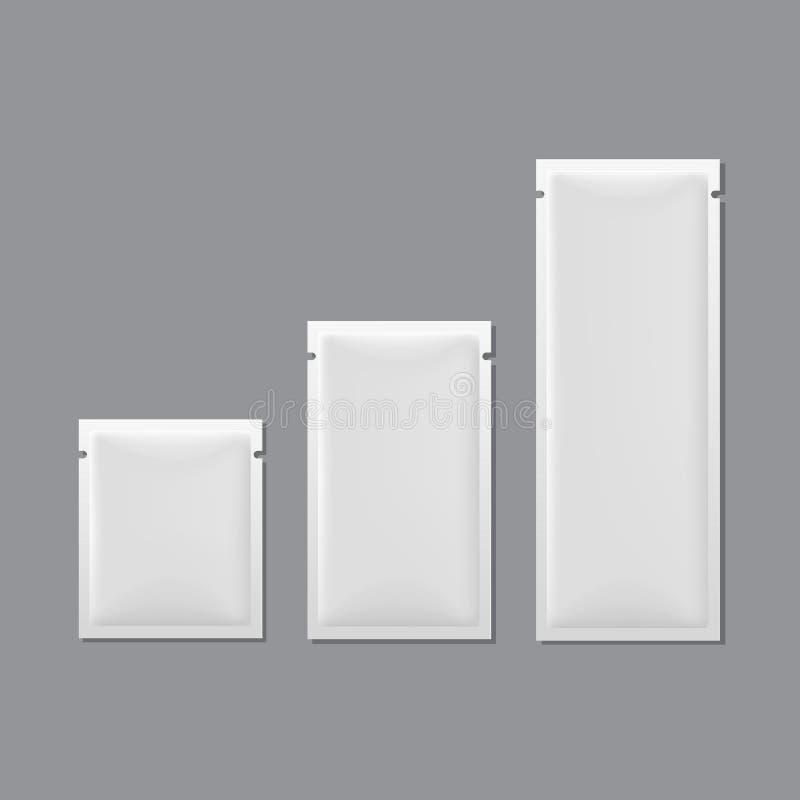 Sistema del vector de empaquetado en blanco blanco de la bolsita stock de ilustración