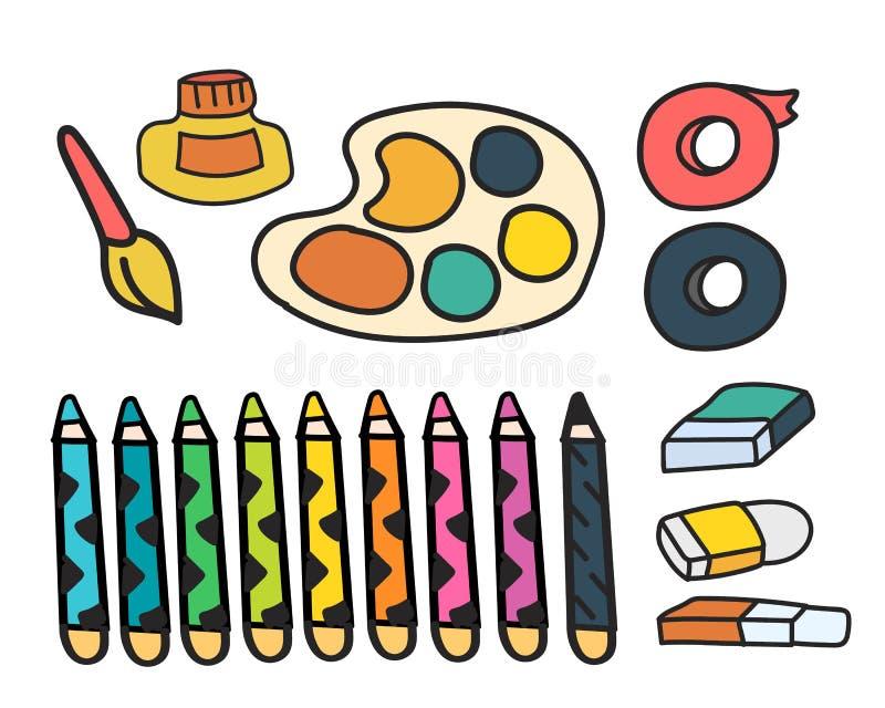 Sistema del vector de estilo del garabato de los efectos de escritorio de las pinturas del arte libre illustration