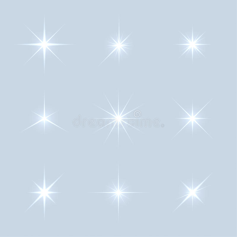Sistema del vector de estrellas de las luces de la chispa stock de ilustración
