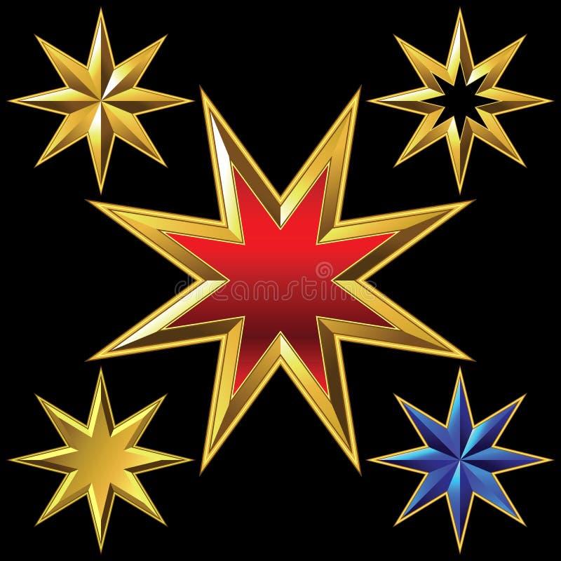 Sistema del vector de estrellas ocho-acentuadas brillantes de oro ilustración del vector