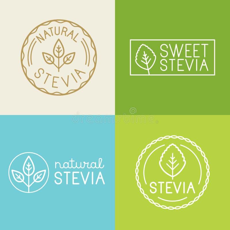 Sistema del vector de etiquetas, de insignias y de elementos del diseño para el packag de la comida libre illustration