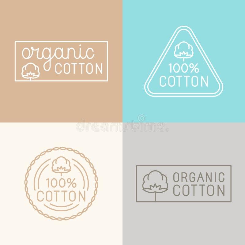 Sistema del vector de etiquetas, de insignias y de elementos del diseño para la choza orgánica stock de ilustración