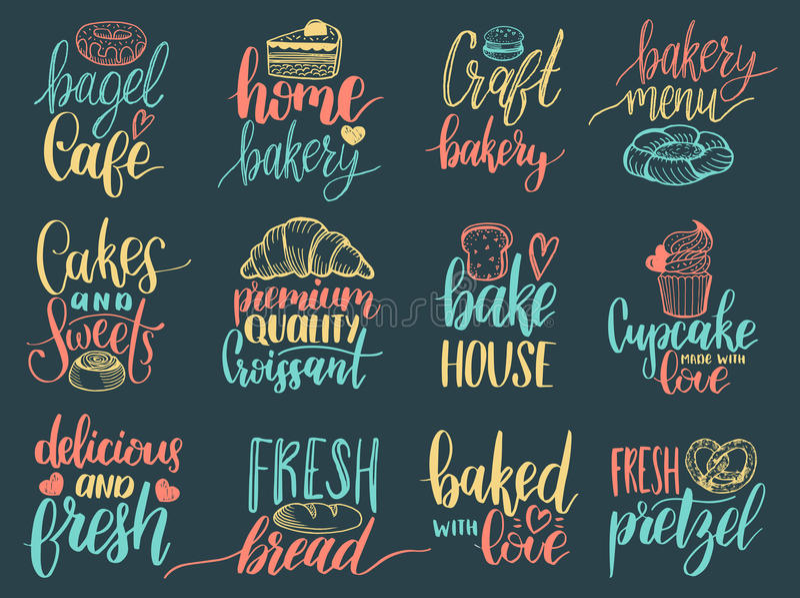 Sistema del vector de etiquetas de las letras de la mano de la panadería del vintage Diseño de la tipografía, colección de la cal stock de ilustración