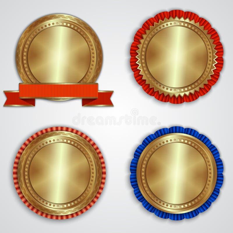 Sistema del vector de etiquetas de oro redondas de la insignia con fotografía de archivo libre de regalías