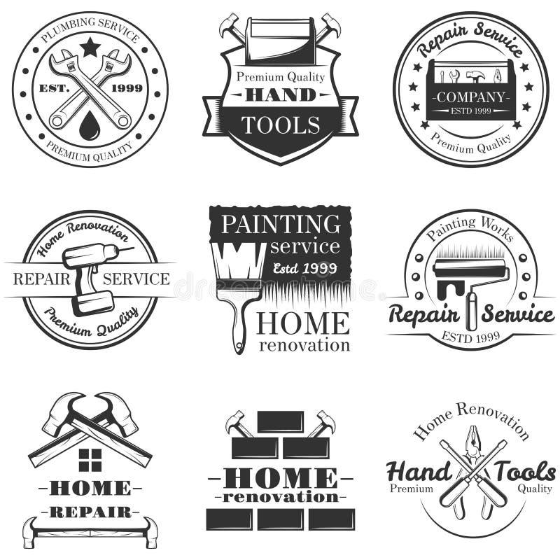 Sistema del vector de etiquetas, de insignias y de logotipos de la reparación del hogar del vintage ilustración del vector