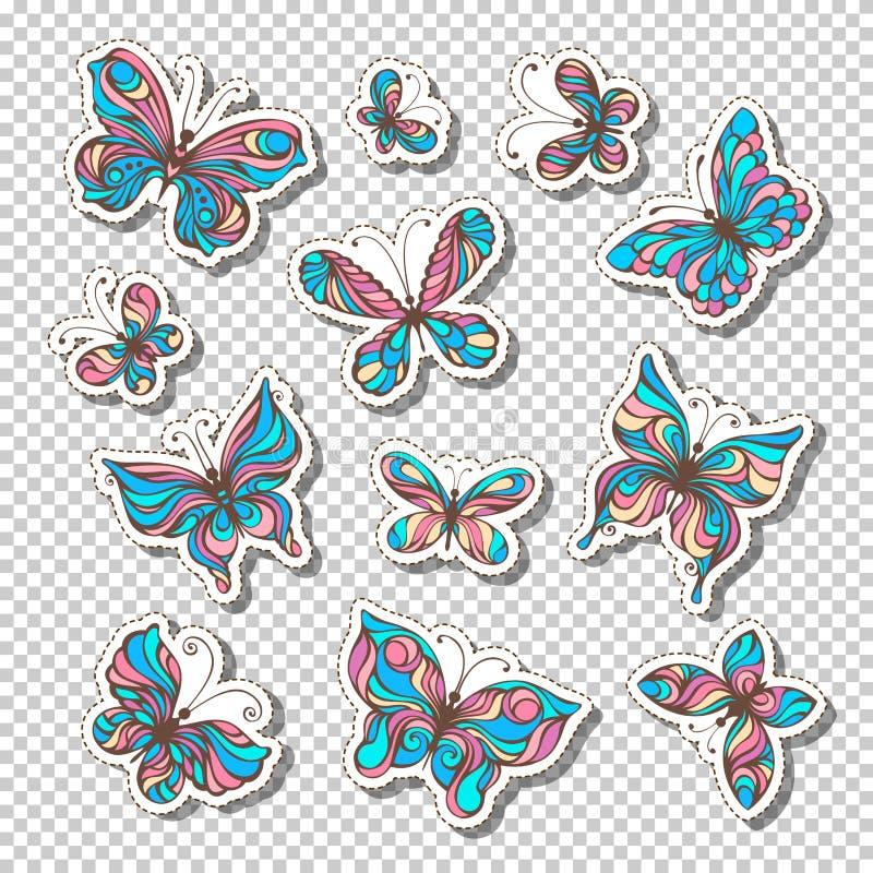 Sistema del vector de etiquetas pegajosas retras con las mariposas libre illustration