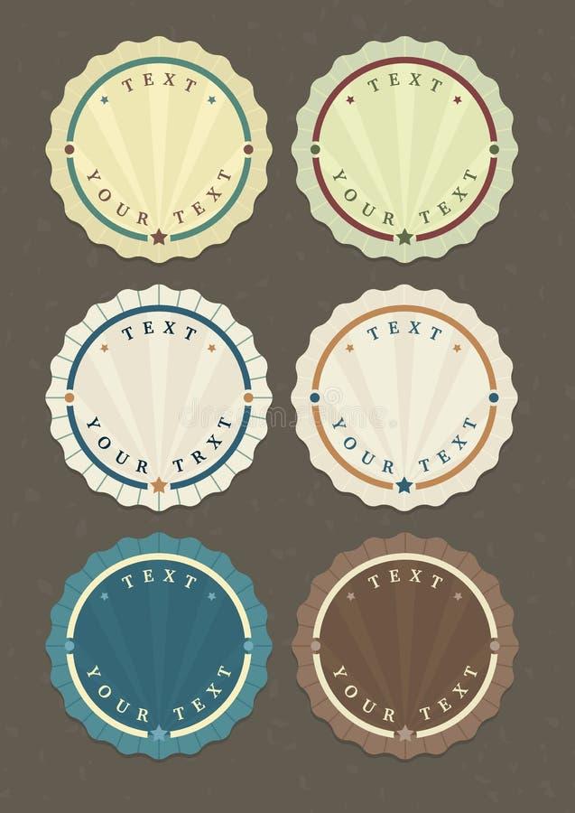 Sistema del vector de etiquetas redondas del vintage ilustración del vector