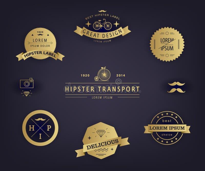 Sistema del vector de etiquetas superiores de la calidad y de la garantía con diseño diseñado vintage retro Elementos del inconfo stock de ilustración