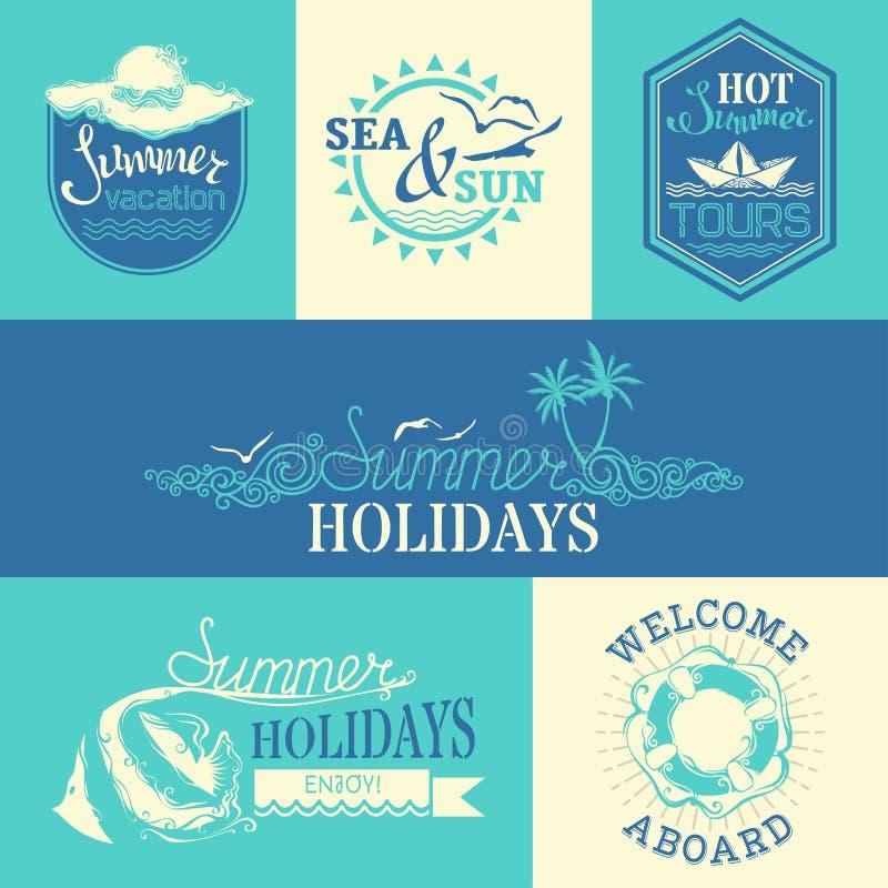 Sistema del vector de etiquetas y de emblemas del verano libre illustration
