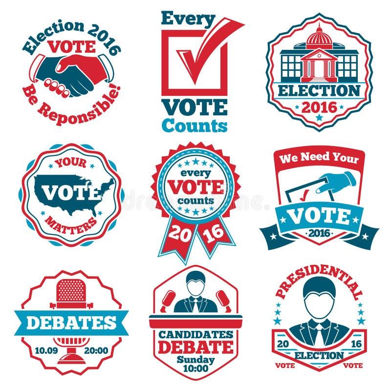 Sistema del vector de etiquetas y de insignias del voto para las elecciones, discusiones ilustración del vector