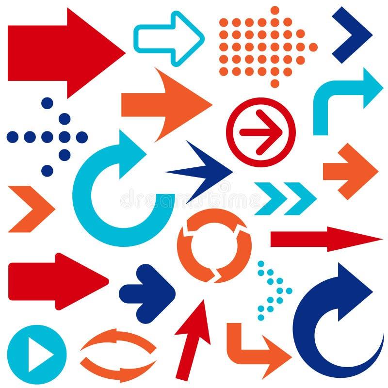 Sistema del vector de flechas coloreadas stock de ilustración